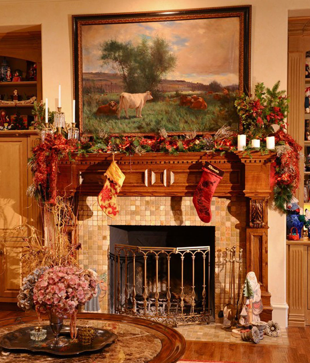 20 christmas mantel decorations ideas for this year for How to decorate a fireplace for christmas