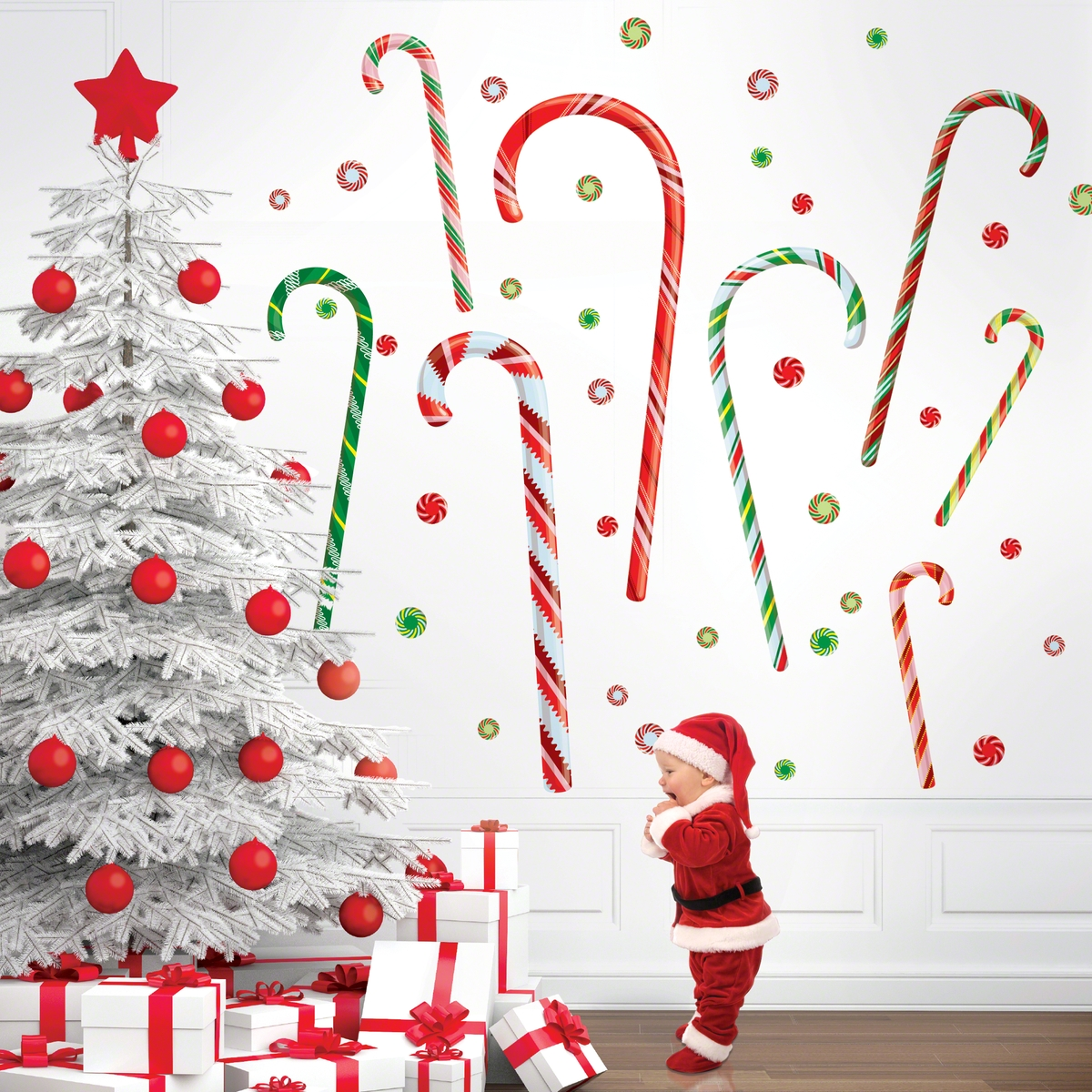 Christmas wall decorations ideas for this year for Christmas wall mural plastic