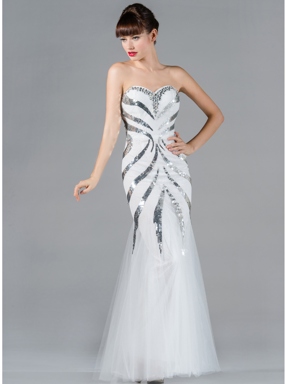 White Mermaid Prom Dress