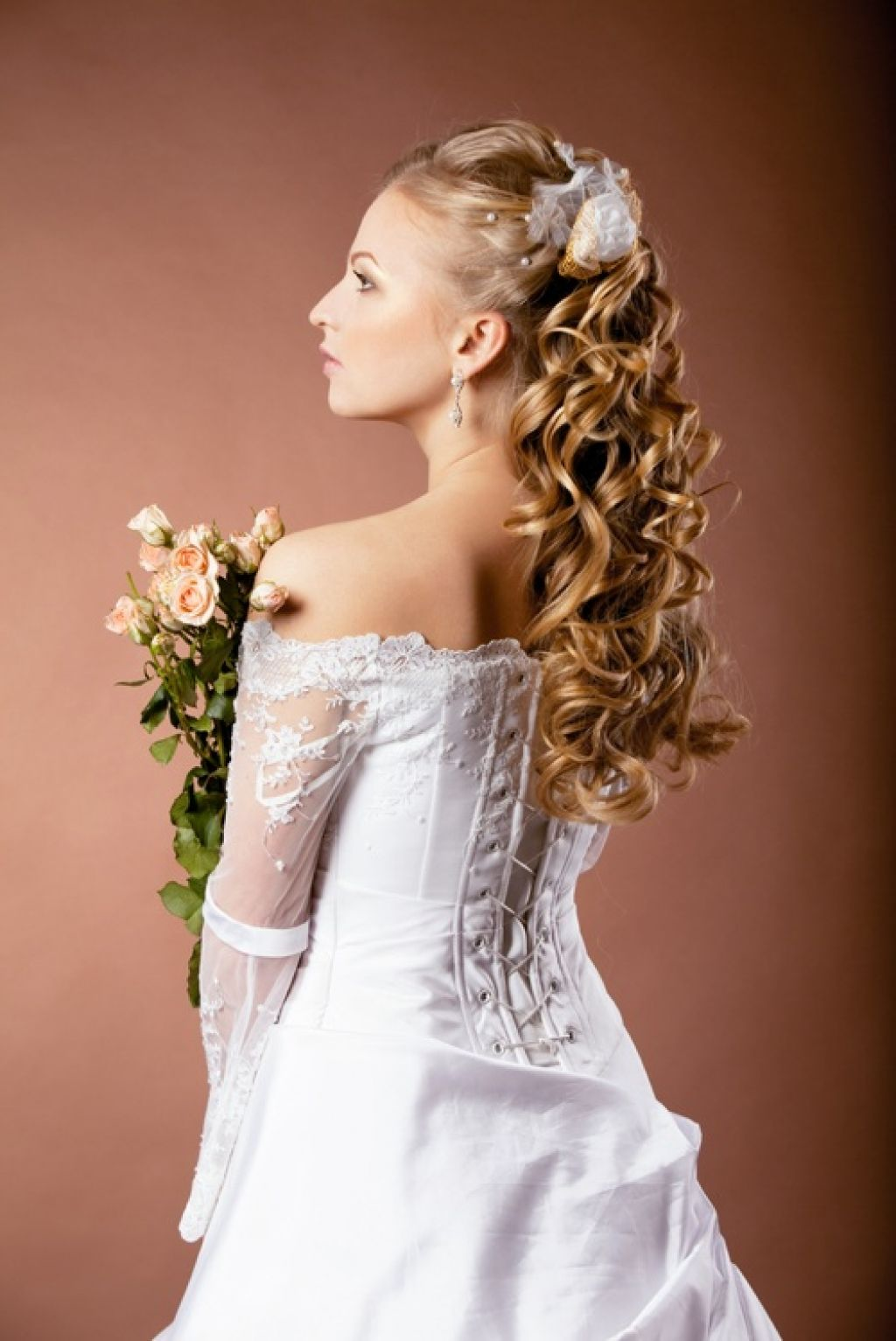 Long Curly Prom Hairstyles Half Up Half Down
