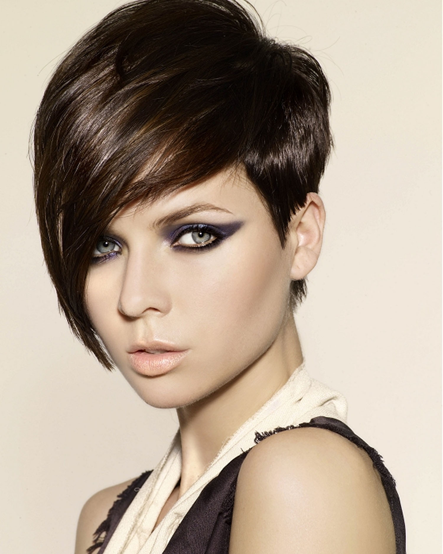 Short Long Hairstyle with Bangs