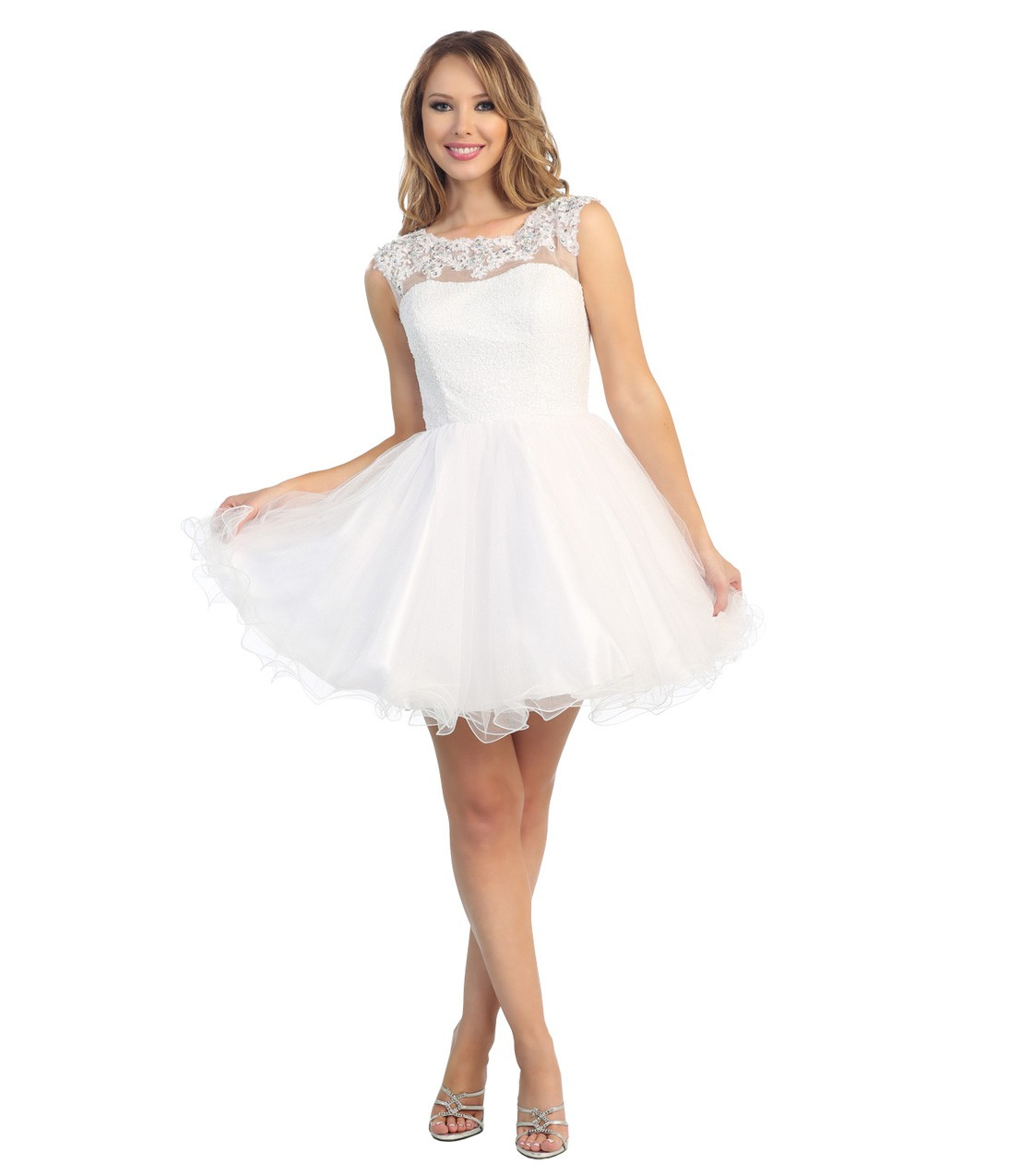 White Prom Dress with Sleeves