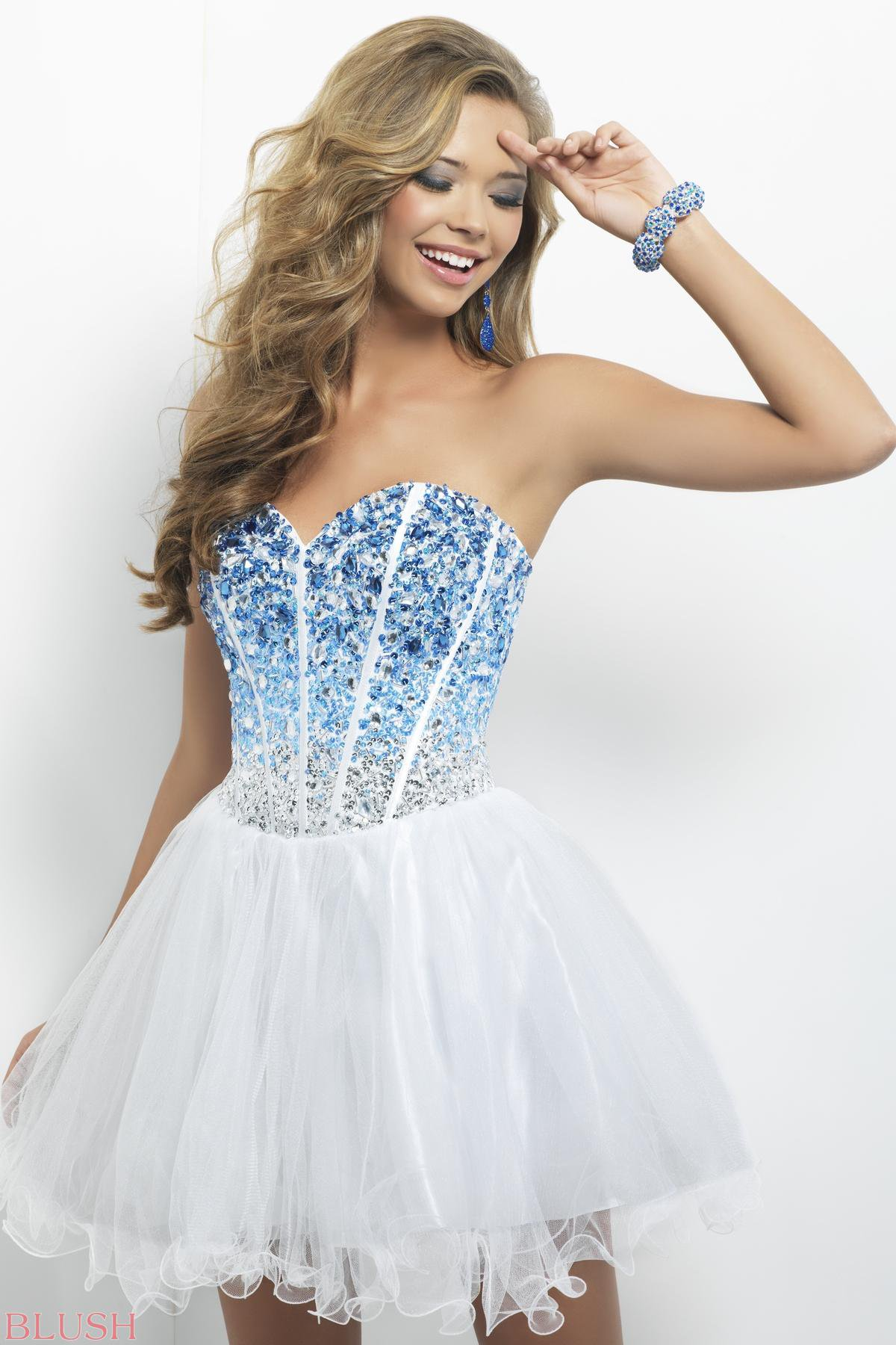 White and Blue Short Prom Dresses