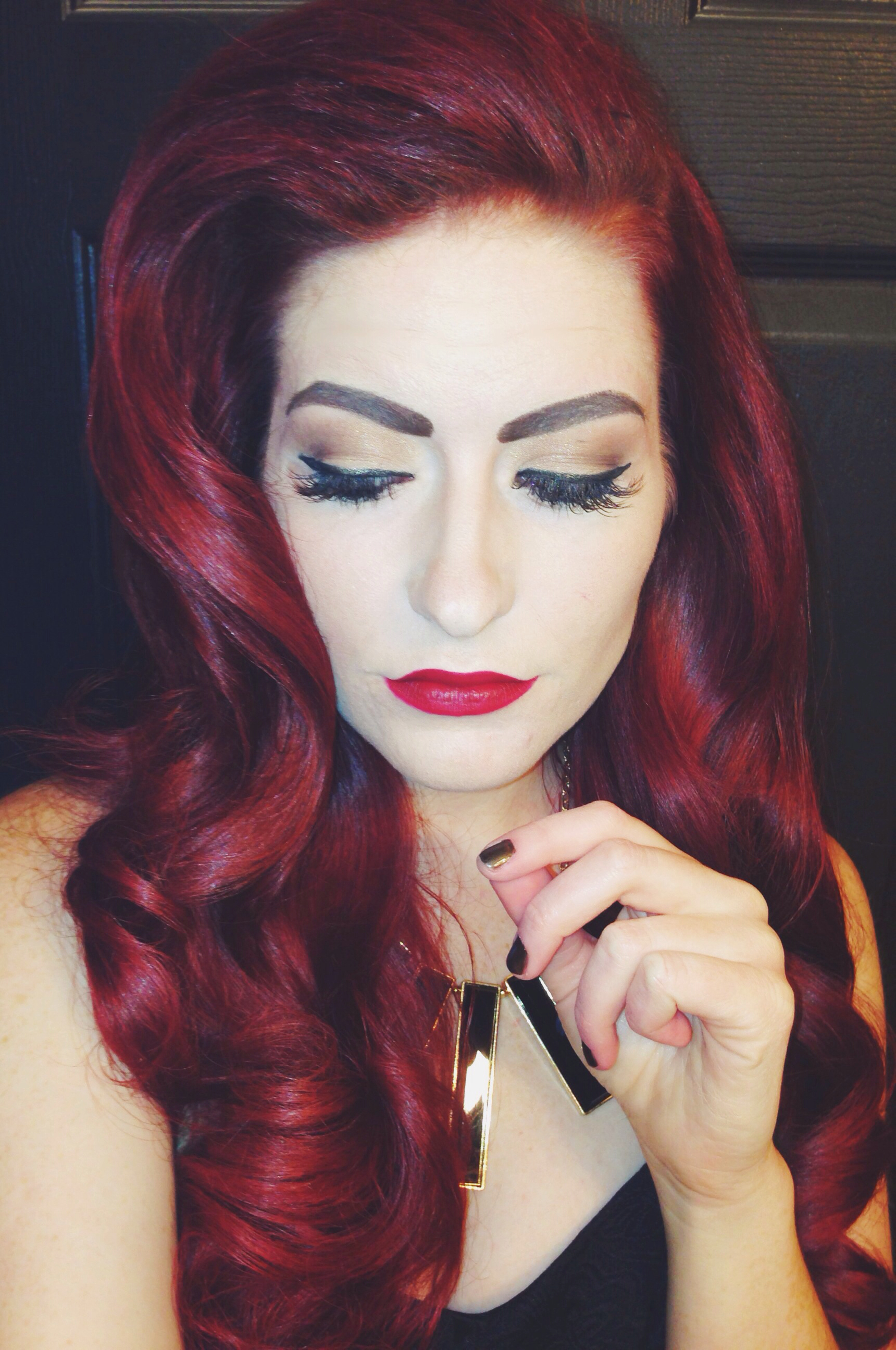 Pin Up Hairstyle with Red Hair