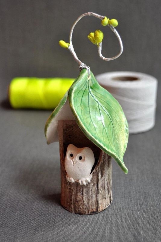 owl-christmas-ornaments-pottery